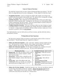 types of chemical reactions worksheet lesson planet ericsylvia