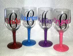 wine glass with initials personalized wine glasses