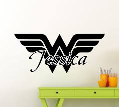 personalized wonder woman wall sticker girl custom name vinyl personalized wonder woman wall sticker girl custom name vinyl decal superhero comic book nursery kids wall art interior decor mural 344su