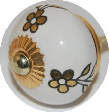 interesting door handle decoration with round white floral ceramic