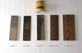 gray brown stained kitchen cabinets how 6 different stains look on 5 popular types of wood