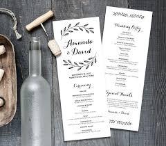 Order Wedding Ceremony Program Rustic Wedding Program Template Order Of Service Printable