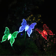 solar color changing butterfly garden stake light set of three 3