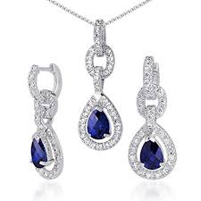 sapphire earrings necklace set images Created sapphire pendant earrings necklace set jpg