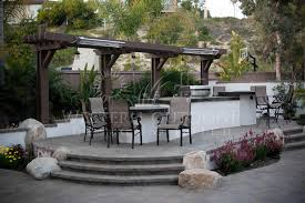 Fire Pit Bq - outdoor stucco finish bbq island bar firepit landscape ideas