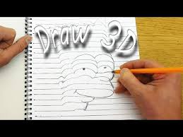 how to draw 3d objects that appear to be coming off of the paper