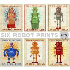 Wall Art For Kids Room by Retro Robot Art Prints Set Of 6 Robot Prints Boys Nursery Art