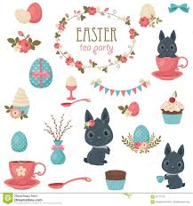 easter tea party easter tea party icons set stock vector image 67911078