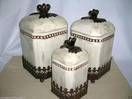 metal kitchen canister sets vhtf godinger tuscan cream washed metal kitchen canister home decor