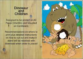 dinosaur party stand in head in the hole kids dinosaur