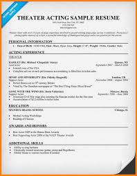 Actor Sample Resume 6 Acting Resumes For Beginners Cashier Resumes