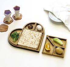 modern seder plate wooden heart tangram seder plate studio armadillo