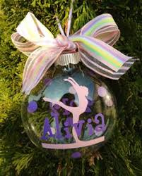 gymnastics ornament personalized with name date bow by pydesigned
