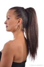 yaki pony hair styles medium brown kinky straight hair drawstring ponytails brazilian