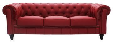Maroon Leather Sofa Benjamin Classical 3 Seater Pu Leather Sofa In Maroon Furniture