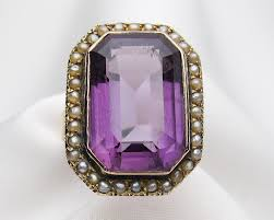 victorian amethyst u0026 seed pearl halo ring antique cocktail ring