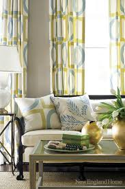 Yellow And Blue Curtains Geometric Window Panels Contemporary Living Room New
