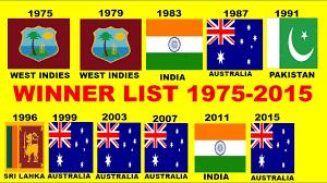 Cricket Flags Cricket World Cup Winners List Since 1975 2015 Odi Cricket