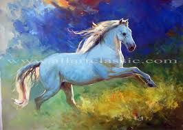 white mustang horse contemporary art paintings