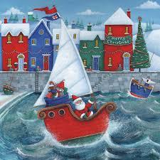 christmas harbour bi lingual welsh english pack of 10 rnli