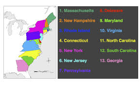 the thirteen colonies map posts