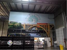 large wall mural in spokane warehouse quality custom custom printed vinyl wall wrap features spokane falls and starbucks large wall mural