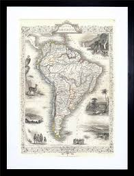 1850 tallis map south america tallis 1850 framed art print picture