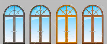 set of classic arched wooden doors for a balcony doors of