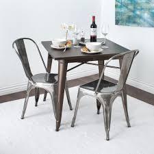 gunmetal dining chairs galvanized steel side set of 2 urban