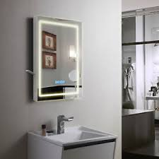 Bathroom Mirror With Clock Backlit Led Illuminated Bathroom Mirror Demister Digital Clock