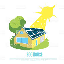 solar panels clipart eco house with blue solar panels on the roof stock vector art