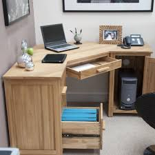 Corner Office Place Corner Light Brown Wooden Desk With Storage And Drawers Placed On