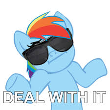 Rainbow Dash Meme - image deal with it macro meme rainbow dash shrug shrugpony png