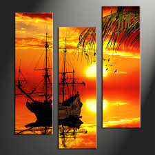 3 piece yellow sunset sunrise landscape artwork