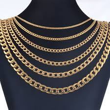 colored necklace chains images Width 3mm 4 5mm 6mm 7 5mm 9 5mm 11 5mm stainless steel gold color jpg