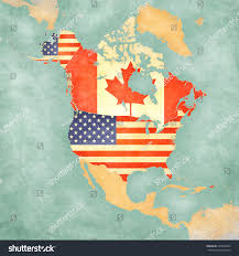 Map Of Us And Canada Us Canada On Outline Map North Stock Illustration 229003624