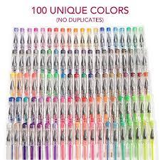 colorful l shades gel pen set for coloring 100 unique colors no duplicates