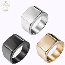 signet wedding ring v cool fashion rings square big width signet rings titanium blank