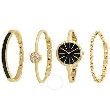 anne klein bracelet gold images Anne klein gold and black ladies watch and bracelet set 1470gbst jpg