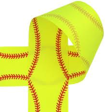 softball ribbon printed ribbon softball puff stitch