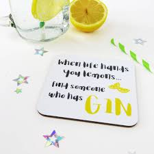 funny gin birthday card with coaster by wink design