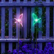 outdoor solar garden lights color changing hummingbirds stake