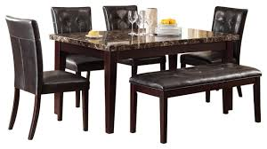 Marble Dining Room Tables Homelegance Teague 6 Piece Faux Marble Dining Room Set In Espresso
