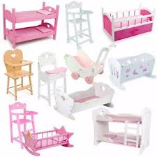 Wooden Doll High Chair New Dolls Wooden Set High Chair Rocking Crib Cot Bed Pram