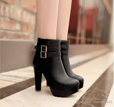 Comfortable Dress Shoes Womens Womens Faux Leather Comfortable Ankle Boots Platform High Heel