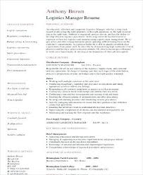 resume supply chain manager resume format logistics sample 9