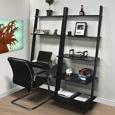 Bookcase Black Wood Leaning Shelf Bookcase With Computer Desk Jet Com
