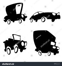cartoon sports car black and white set cartoon cars silhouette truck jeep stock vector 74451994