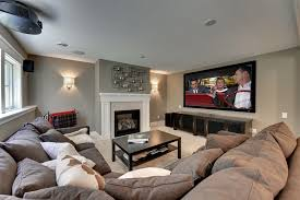 contemporary family room decorating ideas with sectional and grey