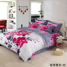 cheap bedroom comforter sets newest arrival pink floral chinese bedding set for full queen size
